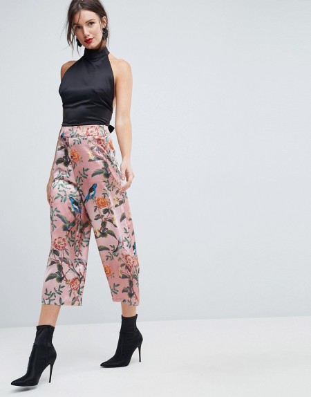 ASOS - Weicher Hosenrock mit Vogel- und Blumenmuster - Mehrfarbig