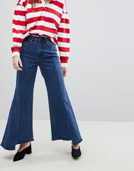 Evidnt: EVIDNT - Jeans mit unebenem Saum und weitem Bein - Blau