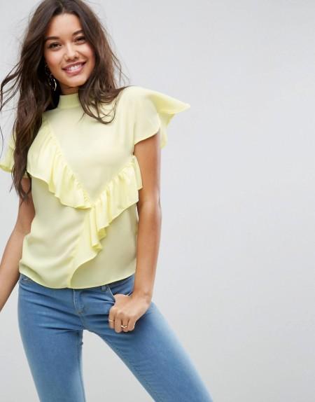 ASOS - Hochgeschlossene Bluse mit Rüschen - Gelb
