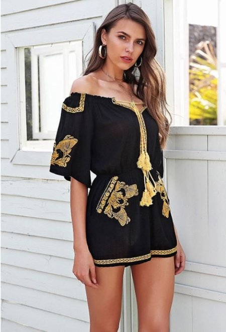 Fashion Movements: Black tassel embroidery floral jumpsuit off shoulder