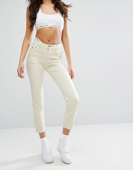 Tommy Jeans Capsule: Tommy Jeans - Gekürzte Jeans mit geradem Beinschnitt und hoher Taille - Gelb