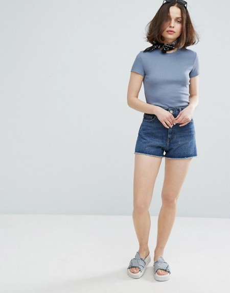 Monki - Jeans-Mom-Shorts - Blau