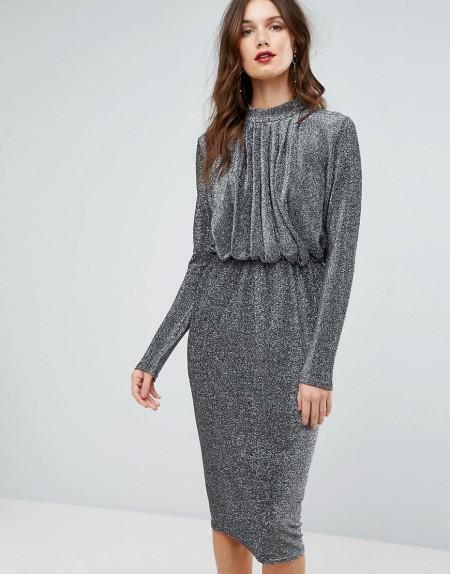 Y.A.S - Kleid mit Glitzer - Silber