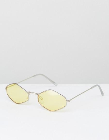 Jeepers Peepers - Metall-Sonnenbrille in Diamantenform mit gelb getönten Gläsern - Gelb