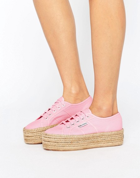 Superga - 2790 - Rosa Sneakers mit Espadrille-Plateausohle - Rosa