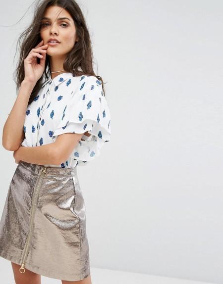 Suncoo - Bluse mit Tropenmuster - Weiß