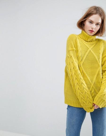 ASOS - Pullover mit Zopfmuster und Rollkragen - Gelb