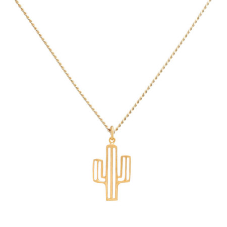 blue billie: Cactus Necklace Gold Plated