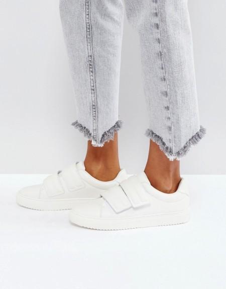 Pieces - Sneaker in Lederoptik - Weiß