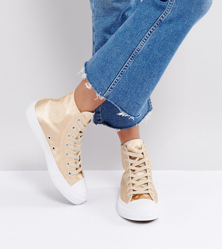 Converse - Chuck Taylor - Knöchelhohe Satin-Sneaker in Gold - Gold