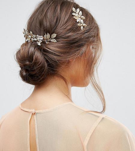 ASOS - Hübsche Metallkämme mit Blumenverzierung im 2er-Pack - Gold
