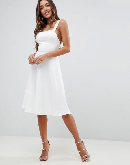 ASOS - Ballkleid mit eckigem Ausschnitt - Weiß