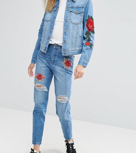 Kubban Tall - Boyfriend-Jeans mit Applikation - Blau