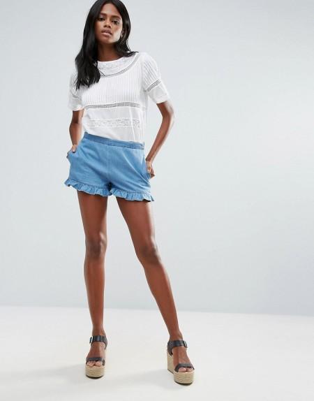 VILA: Vila - Chambray-Shorts mit Rüschen - Blau