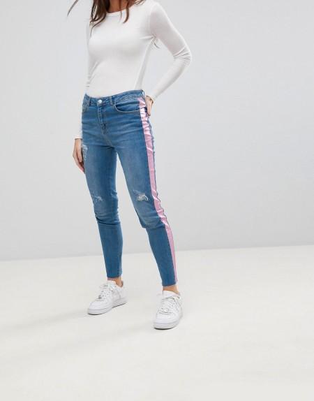 Chorus - Enge Jeans mit seitlichem Folien-Streifen in Pink - Blau