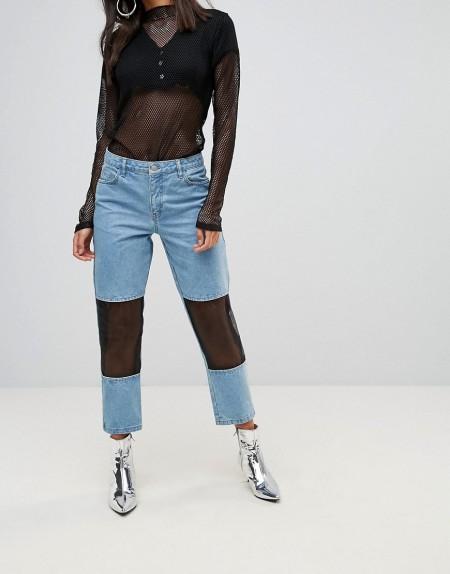 Chorus - Mom-Jeans mit Netzeinsätzen - Blau