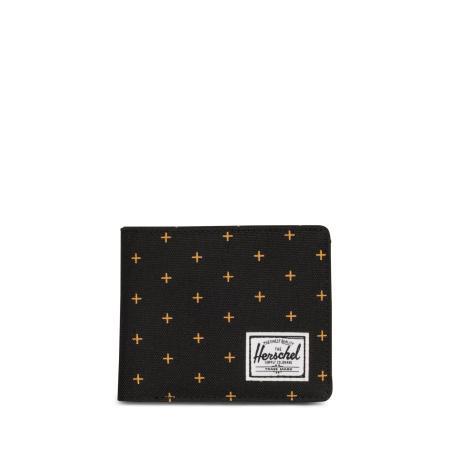 Herschel Roy+Coin (RFID) Wallet Black Gridlock Gold Geldbörse