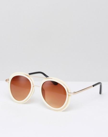 7X Retro-Sonnenbrille mit Brauensteg - Beige