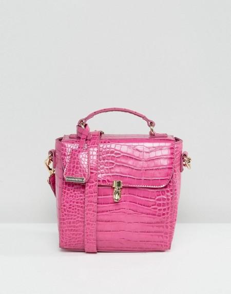 Glamorous - Umhängetasche in Krokodillederoptik in Pink - Rosa
