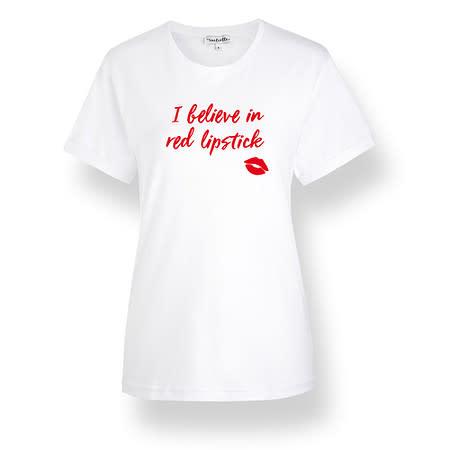 initielle T-Shirt I believe in red lipstick weiß