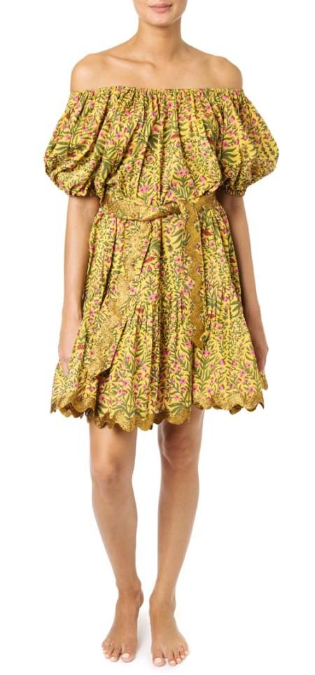 Juliet Dunn Boho Kleid mit Blumenprint-One Size