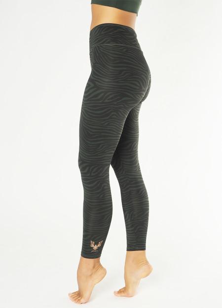 Kismet Yogastyle: Yoga Leggings Ganga 7/8 - Deep Jade Zebra