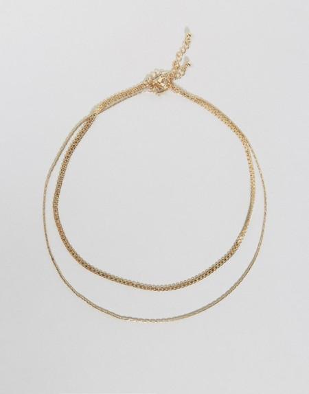 ASOS - Set mit 3 Halsketten und Armschuck im Vintage-Stil - Gold