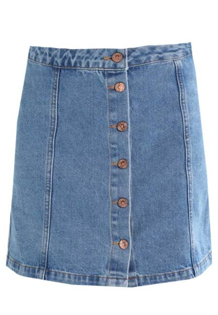 New Look: BUTTON THROUGH - Jeansrock - mid blue