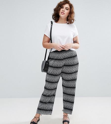 ASOS Curve: ASOS CURVE - Plissierte Hose mit Streifen und weitem Beinschnitt - Mehrfarbig