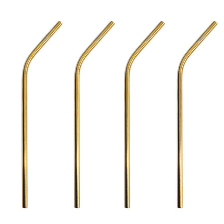 FABSOUL: Gold Stainless Steel Straw Bend 4 Pack