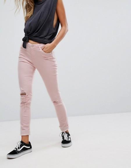 Pimkie - Enge Jeans mit Rissen in Pastellrosa - Rosa
