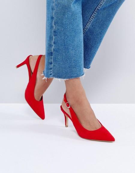 New Look - Rote Schuhe mit Fersenriemen und niedrigem Absatz - Rot