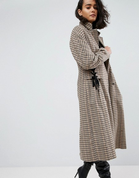 ASOS - Karierter Mantel mit Korsettdetail an der Taille - Steingrau