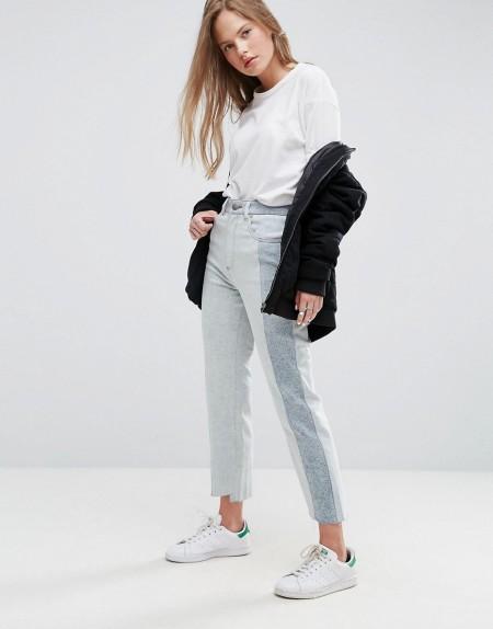 ASOS - Gerade geschnittene Deconstructed-Jeans im Stil der 80er-Jahre mit ausgeblichener, heller Acid-Waschung - Blau