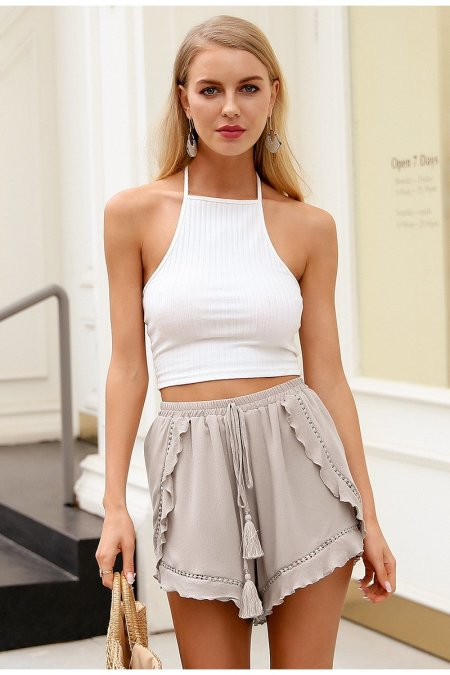 Fashion Movements: chiffon nude brown drape shorts tassel ruffle lace