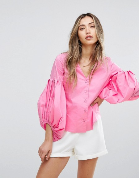 PEARL: Pearl - Hemd mit Ballonärmeln - Mehrfarbig