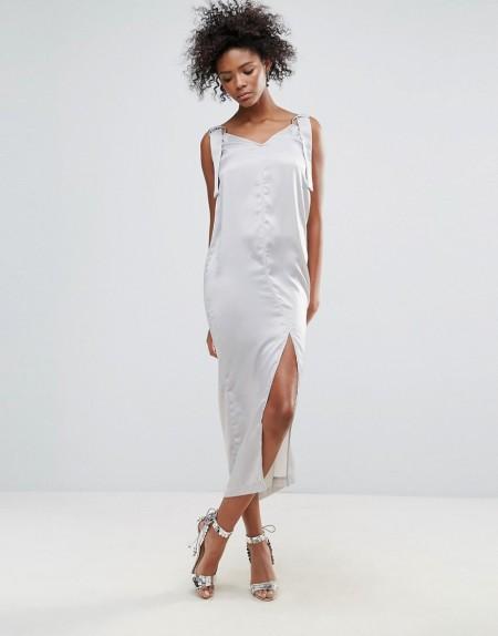 Neon Rose - Satin-Unterkleid mit O-Ring - Grau
