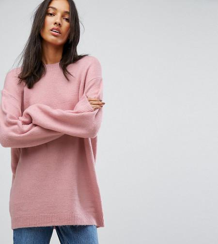 ASOS Tall: ASOS TALL - Oversize-Pullover mit Rundhalsausschnitt - Rosa