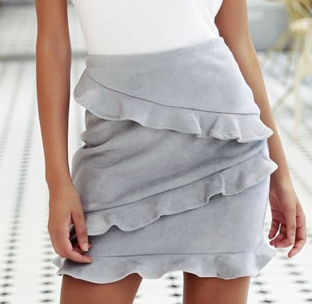 Fashion Movements: Grey suede high waist ruffle skirt