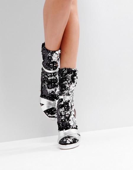 ASOS - Silberne, paillettenbesetzte Socken - Silber