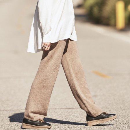 Blankens: THE KAMALA SANDY BEIGE CASHMERE STRAIGHT PANT