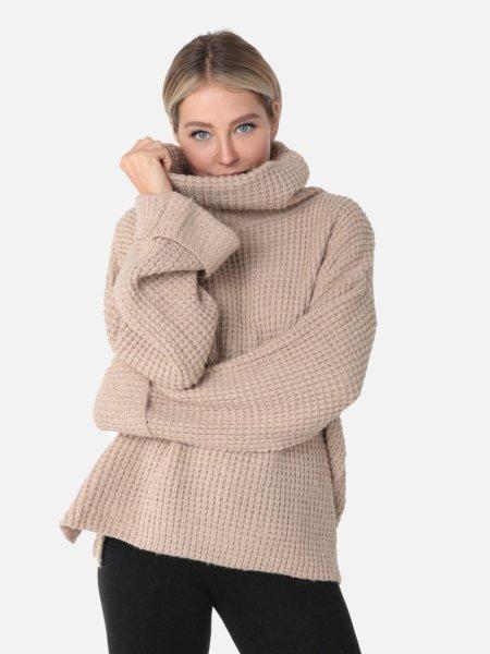 VENUE Fashion: Oversize Grobstrick Rollkragen Pullover