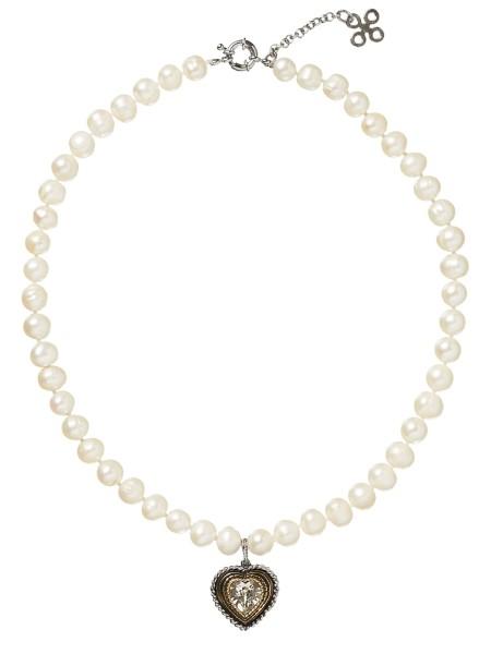 LIMBERRY Weiße Perlenkette mit Kristall-Herzanhänger – COEUR weiß