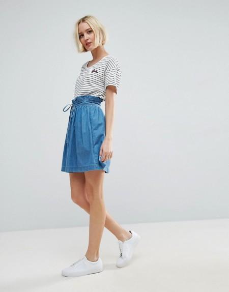 ASOS - Paper Bag - Jeans-Minirock - Blau