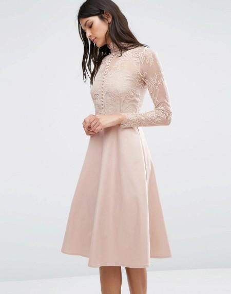 Y.A.S - Kleid mit Spitze - Rosa