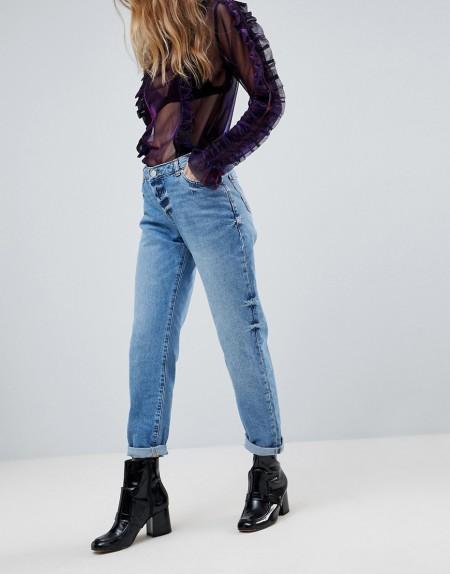 Miss Selfridge - Jeans mit umgeschlagenem Saum - Blau