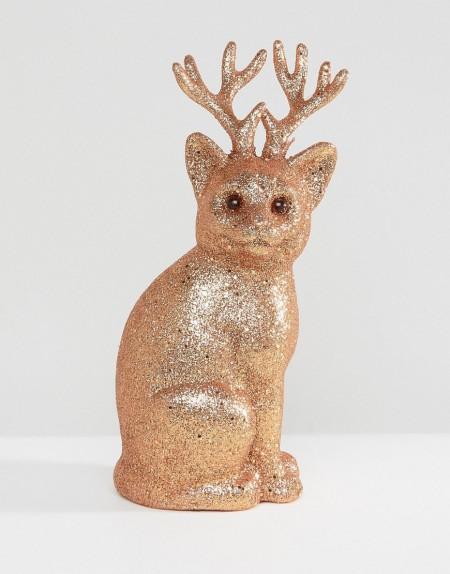 Paperchase - Weihnachtsdeko mit glitzerndem Katzendesign - Mehrfarbig