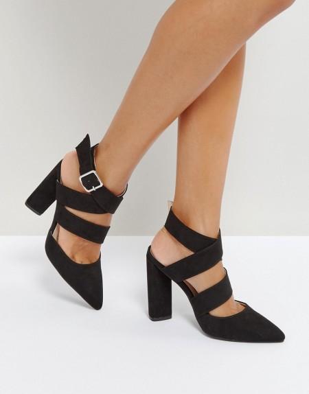 QUPID: Qupid - Spitze High-Heels mit Riemchendesign - Schwarz