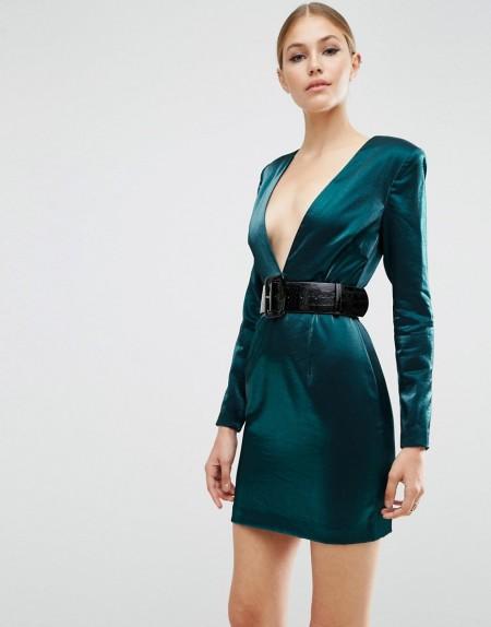 ASOS - Minikleid im Stil der 80er-Jahre mit tiefem Ausschnitt und Gürtel - Blau