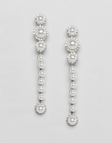 LoveRocks London - Auffällige Ohrringe mit Perlenverzierung - Cremeweiß